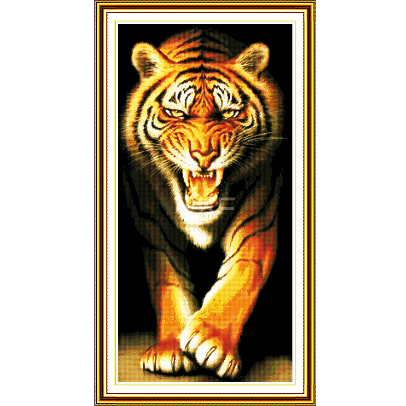 Joy Sunday King of the Monsters Tiger Cross Stitch Set Animals Counted DMC 14CT 11CT Cross-stitch Kits Embroidery Needlework