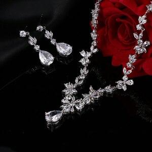 Image 3 - EMMAYA ensemble de bijoux avec pierres CZ AAA, magnifique ensemble de bijoux pour femmes, fleurs en cristal blanc, fête, mariage, fête