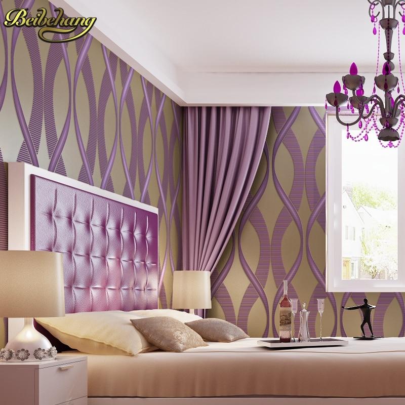 bedroom purple walls paper stripe wallpapers aliexpress beibehang striped living