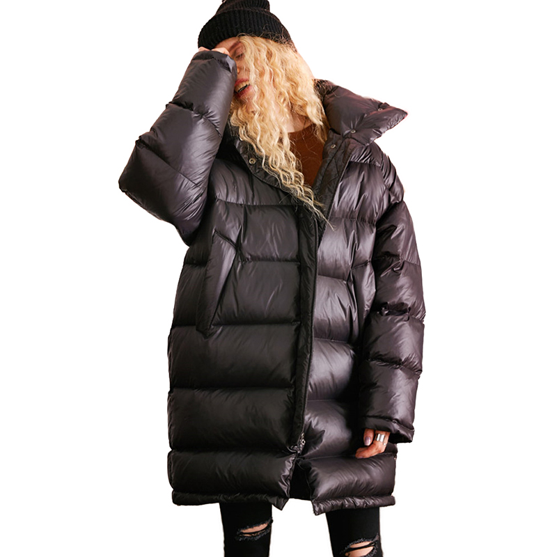 Winter   Down   jacket Women Parkas 2019 new Thick Warm   Coat   Standing collar Female Loose plus size 90% White duck   down     Coats   N301