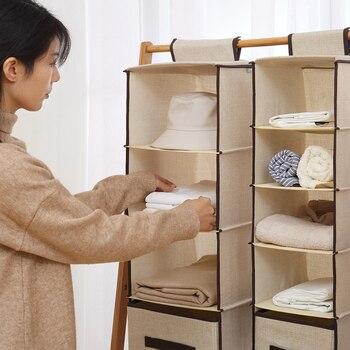 Stile Semplice Imitazione Lino Hanging Closet Organizer Armadio Lavabile Attaccatura Del Sacchetto Di Immagazzinaggio Cassetto Tipo Di Casa Organizzatore