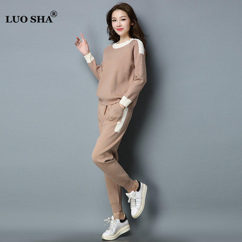 ebe878e5068 Detail Feedback Questions about LUO SHA Two Piece Set Women Sweatsuit Set  Top and Pants Set Patchwork Sporting Women s Costumes Sweat Suits Women  Tracksuit ...