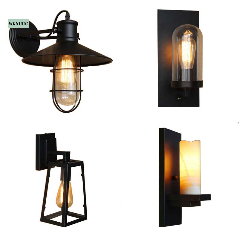Vintage Industrial Exterior Wall Light: Retro Loft Iron Marble Sconce Wall Lights Vintage
