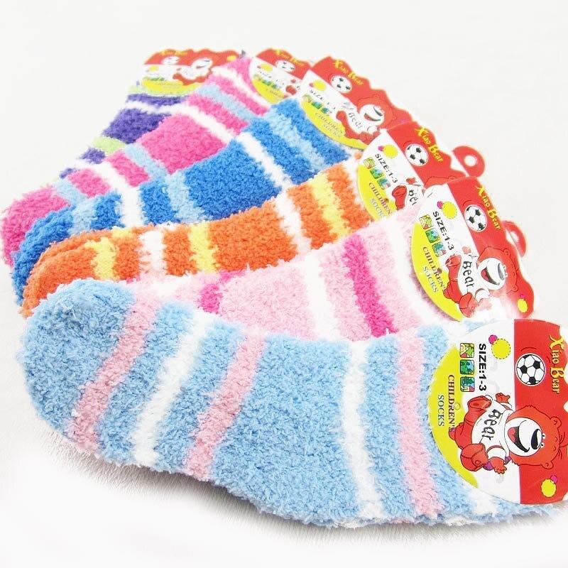 5 Pairs Girls Socks Autumn&Winter Warm Candy Colors Kids Socks 0-8 Year Children Socks For Girls
