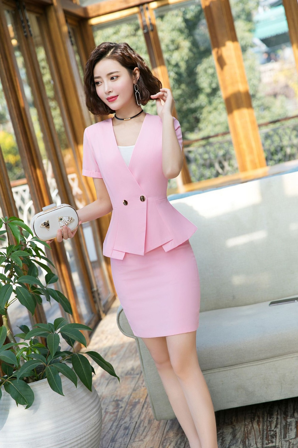 IZICFLY Summer Office Clothes 2019 Formal Ladies Business Uniform Pink Elegant Mini Women Skirt Suits And Jacket Formal Work 4XL