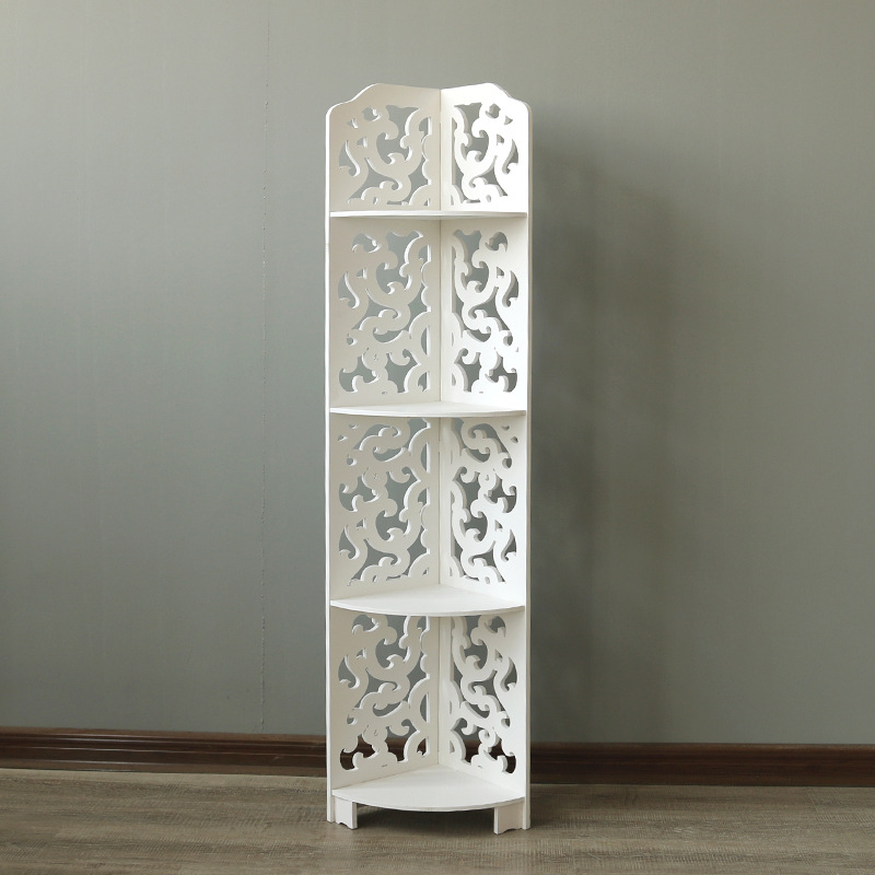 white 4 layers kitchen bathroom shelf multilayer storage rack hollow carved wooden corner stand