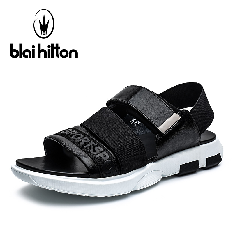 Blaibilton Summer Platform Casual Slippers For Mens Top Quality Luxury Genuine Leather Sandals Men Shoes Beach Fashion Sandalias