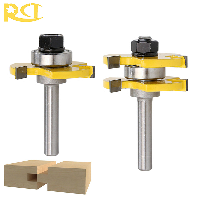 RCT 2pcs Tongue Groove 8mm Shank Router Bit Set Milling Cutters For Wood Cutter Flooring Panel Woodworking Tools 1 2 shank router bit milling cutters for doors woodworking tool trimming flooring wood tools