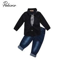 2 Stücke Kinder Kleinkind Kinder Jungen Anzug Gentleman Krawatte Weste Denim Hosen Jeans Party Outfits Sets 2-7Y