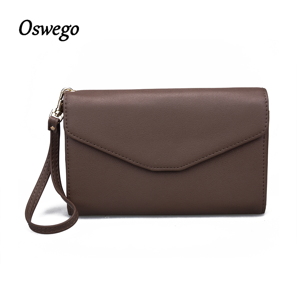 OSWEGO Clutch Wallet Women Long Wallet PU Leather Hasp Coin Purse Phone Pocket Wristlet Long Purse for Women Travel 2018 japanese anime attack on titan rivaille ackerman levi cosplay women long wallet pu leather women kawaii pink clutch coin purse