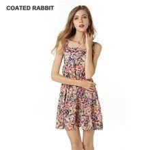 Women Dresses Printing spaghetti strap Summer Dress Fashion Casual slash neck Women Ball Gown office female Dress