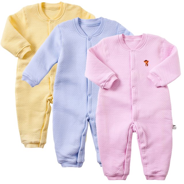 New product Male baby romper baby jumpsuit long-sleeve thickening thermal air layer autumn and winter