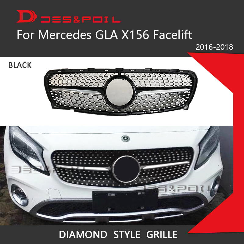 For New Mercedes GLA Class X156 Facelift Diamond Grille Black Silver Front Bumper Racing Grill 2016-2018 GLA200 GLA220 GLA260 grille