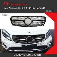 For New Mercedes GLA Class X156 Facelift Diamond Grille Black Silver Front Bumper Racing Grill 2016 2018 GLA200 GLA220 GLA260