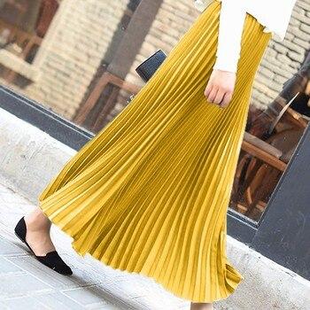 Autumn Fashion Long Pleated Skirt Womens European Style Solid Elegant Midi Elastic Waist Skirt Droppship 10 Colors Freeship 10