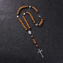 Коми, католические коричневые деревянные четки, бусы, ортодоксальный крест, плетеная веревка, ожерелье, Религиозные ювелирные изделия для мужчин и женщин, R-157