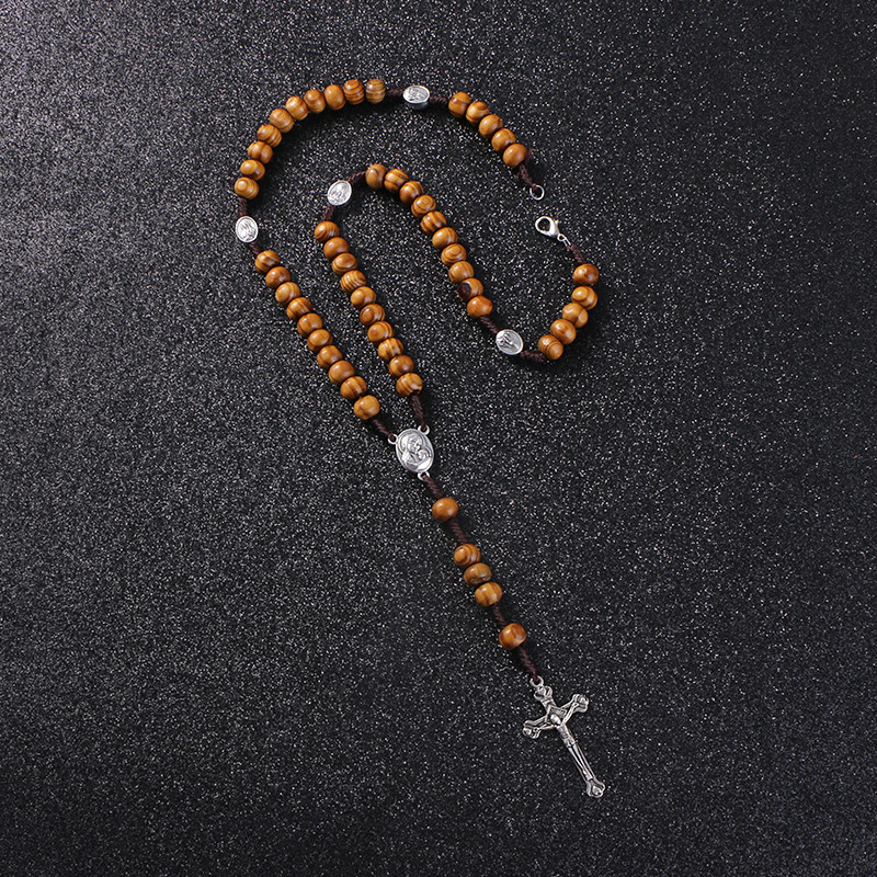 KOMi Catholic Brown Wooden Rosary Beads Orthodox Cross Woven Rope Necklace Of Religious Jewelry Men Women R-157