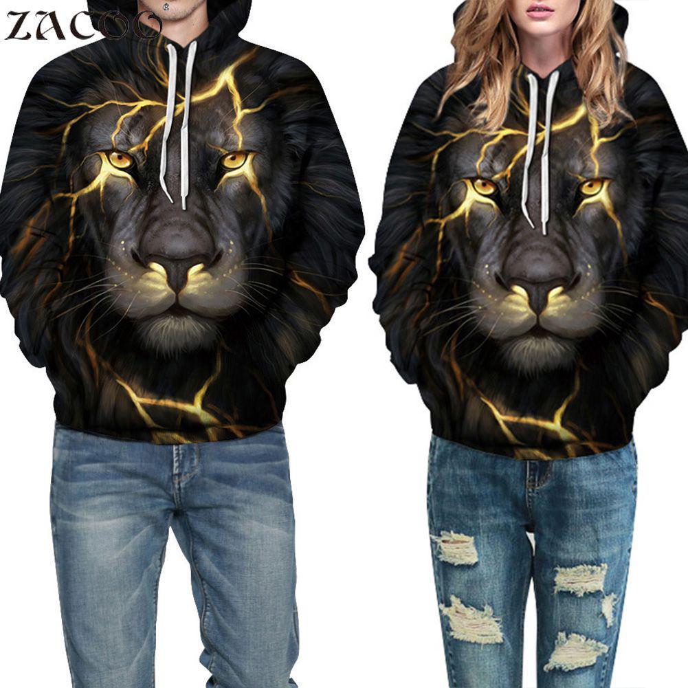 ZACOO Men Women Print Lion Hoodied Sweatshirt Tops Unisex Casual Long Sleeve Hoodie 3D Printed Hooded Sweatshirt Pullover Tops