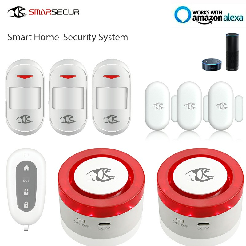 Wireless WIFI Smart Home Alarm System Kit 2xSiren 3xPIR Sensor 3x Door Contact