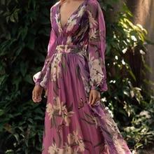 Hot Woman Summer Chiffon Dress V-neck Ladies Floral Purple Maxi Dresses Slim A-line Party Floor for