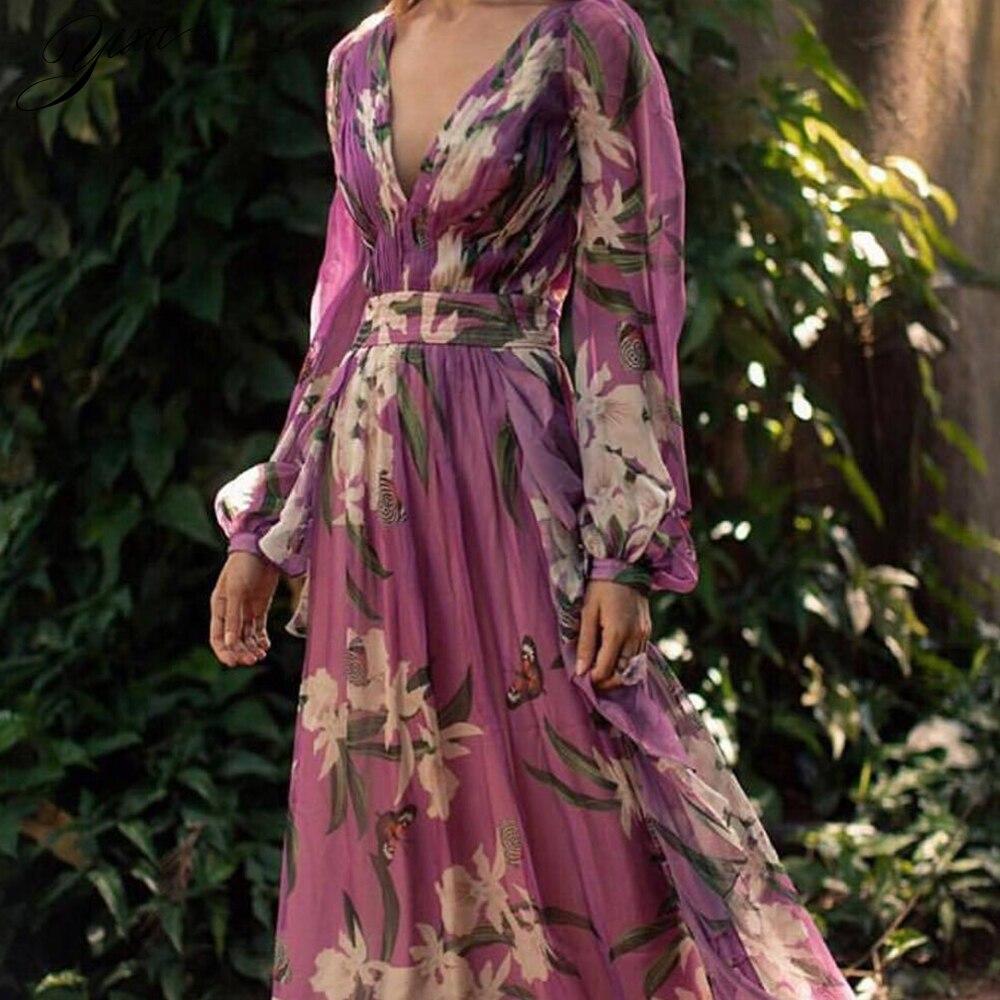 Mujer de moda vestido de gasa de verano con cuello en V púrpura con flores vestidos Maxi Slim Ladies A-line vestido de fiesta vestido de piso para mujer StrollGirl brillante Murano cuentas de cristal púrpura 925 encantos de plata ajuste original pulsera de pandora diy joyería que hace regalos para mujeres