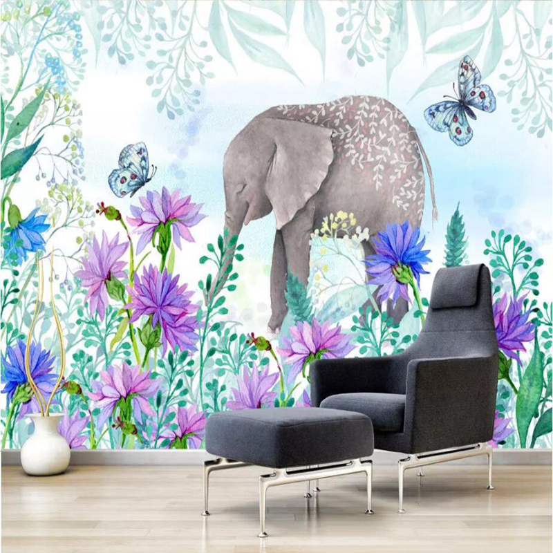 Wallpapers YOUMAN 3D Photo Custom Wallpaper Nordic Fresh Hand Painted Covering Flowers Elephant Wall Mural Home Decor Wall Paper beibehang custom 3d wallpapers hand painted retro nostalgic abstract oil painting flowers landscape european style wallpaper