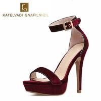 Women Sandals Shoes High Heels Summer Fashion Platform Sandals Women Ladies Shoes Velvet Red Wine Sandals