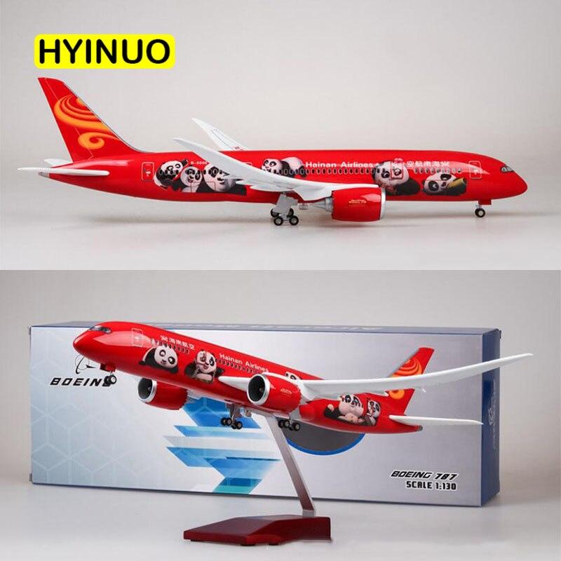 43 CM 1/130 skala samolot Boeing B787 chinach Hainan linii lotniczych Model W światło i felgi Diecast żywicy z tworzywa sztucznego samolot do kolekcja w Odlewane i zabawkowe pojazdy od Zabawki i hobby na  Grupa 2