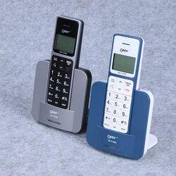 Inglês língua russa casa telefone sem fio com flash mute redial lcd blacklight telefone fixo sem fio preto azul