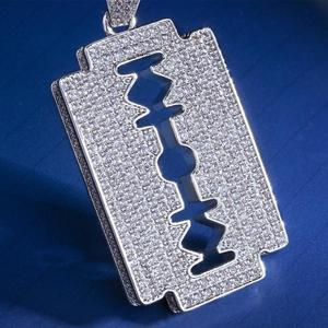 Image 3 - DNSCHIC White Gold Iced Out Double Edged Razor Blade Pendant Hip Hop Necklace Pendant Jewelry for Men Women High Quality
