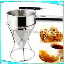 2015 free shipping commercial fish ball taiyaki funnel takoyaki funnel stainless steel takoyaki funnel