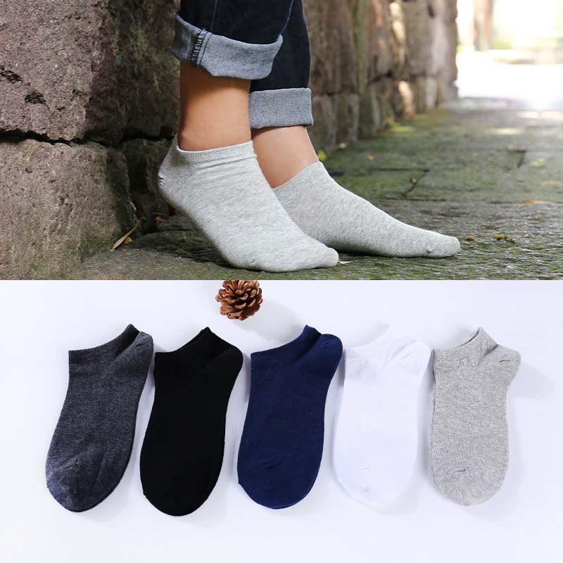 Spring Summer Leisure Solid Color Men Short SocksShallow Mouth Invisible Thin Short Socks Absorb Sweat Breathable Hosiery
