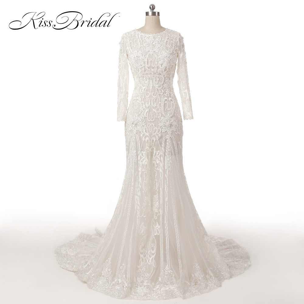 New Long Lace Mermaid Wedding Dresses Sexy Open Back Scoop Neck Long Sleeves Applique Beaded Sweep Train Bridal Gowns