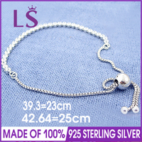 LSLuxury 100 925 Sterling Silver Sparkling Strand Bracelet Fit Original Beads Charm Fine Jewelry For Women