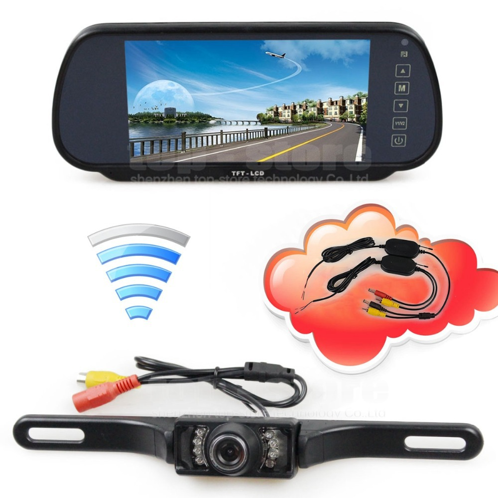 ФОТО DIYKIT Wireless Parking System IR Night Vision CCD Rear View Car Camera With 7 inch Car Rear View Mirror Monitor