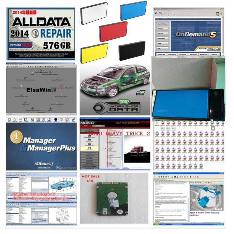 2020 Hot sale Alldata auto repair all data 10.53 software mitchell ondemand 2015 software ect25in <font><b>1tb</b></font> <font><b>hdd</b></font> heavy truck vivid data image