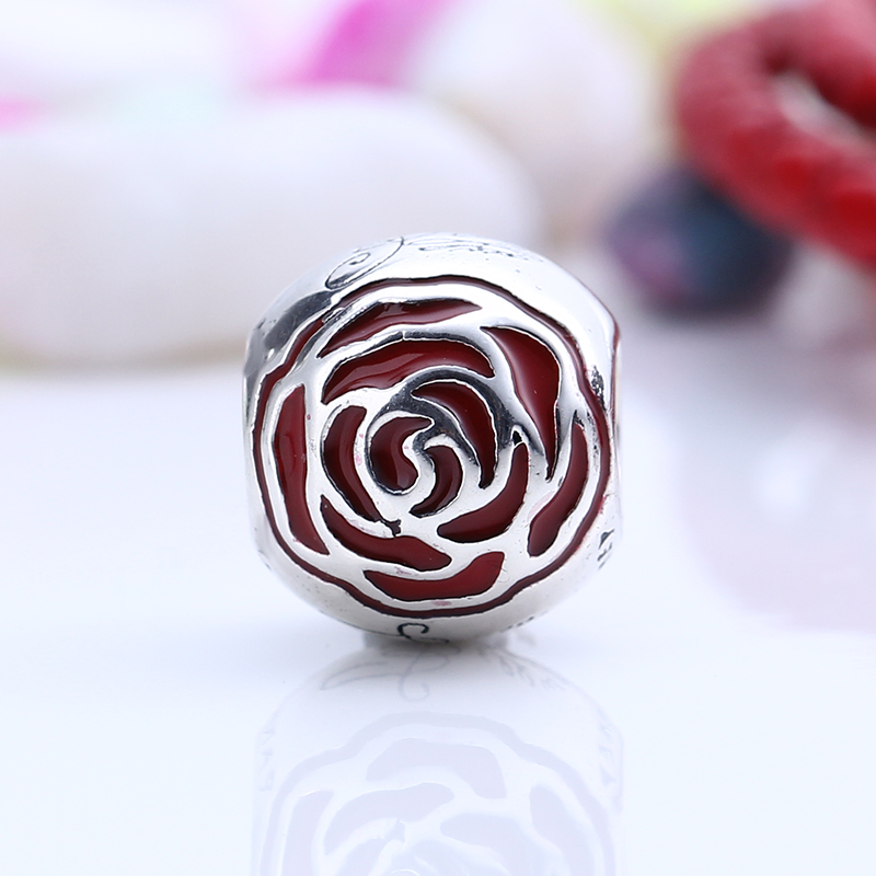 New Real 100% 925 Sterling Silver Cute Rose Charm Fit Original Pandora Charms Bead Bracelet for Jewelry Making Gift