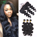 7A Brazilian Virgin Hair Ear To Ear 13*4 Lace Frontal Closure With Bundles No Tangle Bundles Body Wave Remy Hair With Frontal