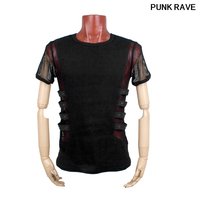 Gothic Personality Rock Sexy T shirt Steampunk Metal Black Top Men Black Knitted Street Mesh Sexy Tee Shirt Top PUNK RAVE T 313