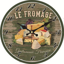 Shabby Chic Wall Clock Cheese Food Design Silent Kitchen Room Decor Art Home Watches Vintage Large