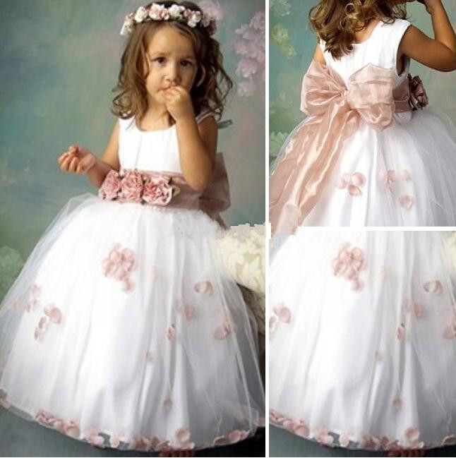 цена New Tutu Girls Birthday Party Dress White Tulle With Sash Bow Flower Girls Dresses for Wedding Baby Girls Gown