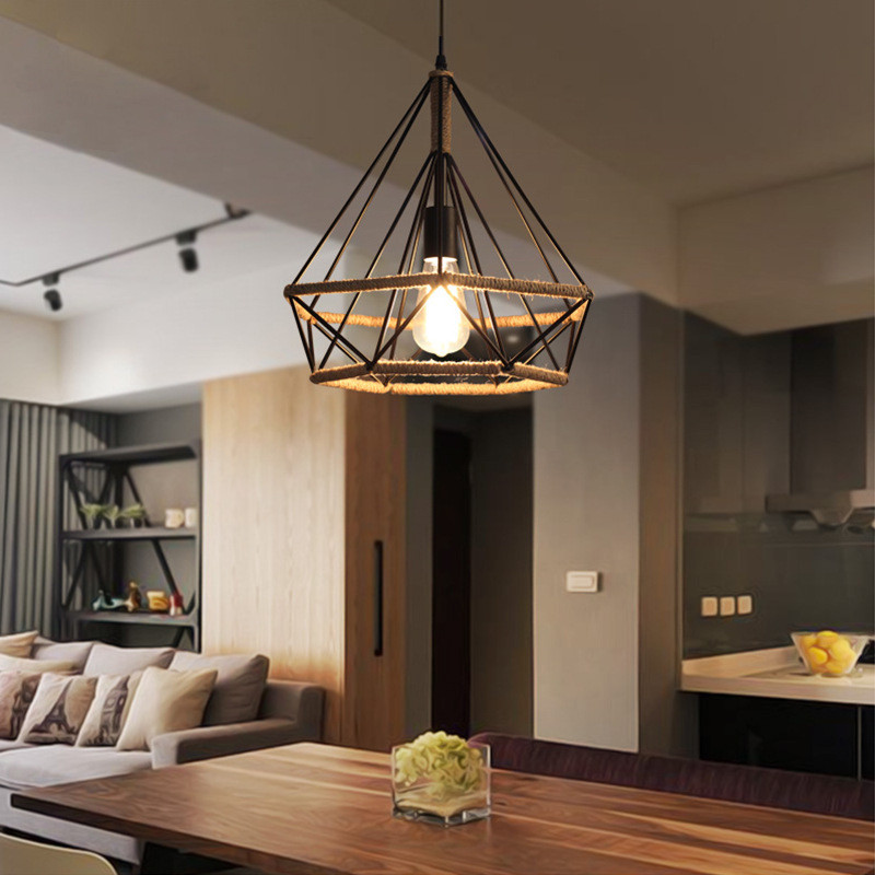 Hand Knitted Hemp Rope Iron Lamp Retro Industrial Bird Cage Vintage Pendant Light for Bar Restaurant Loft Decorative AC90-260V retro rope pendant light loft vintage lamp restaurant bedroom dining room diy decorative pendant hand knitted hemp rope light