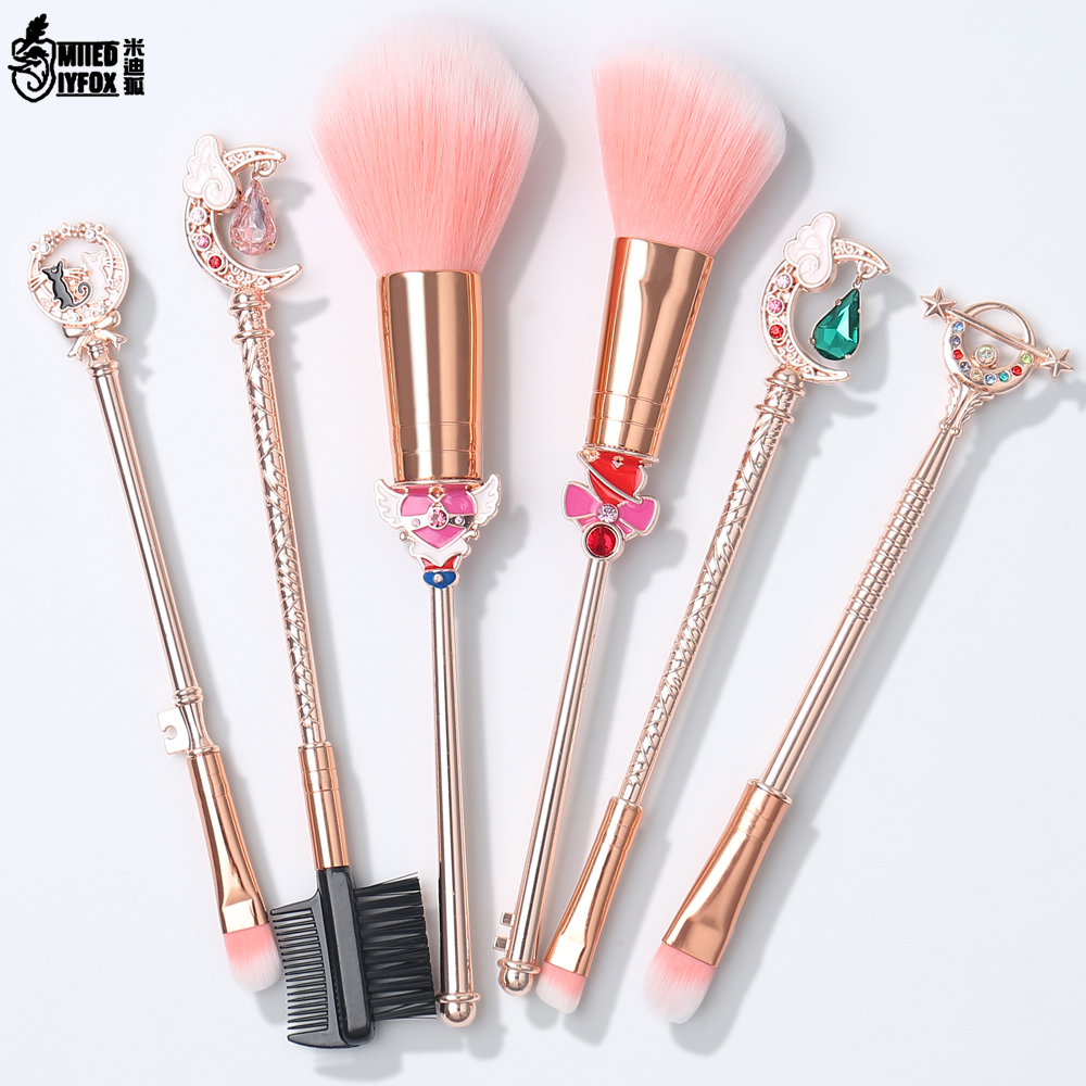 Sailor Moon Makeup Brushes Set Foundation Blending Powder Eyeshadow Contour Concealer Blush Cosmetic Beauty Make Up Tool new 11pcs cosmetic eyeshadow foundation concealer bamboo handle makeup brushes set p4 m3