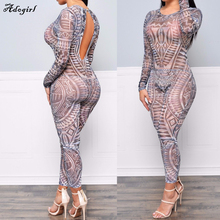 Adogirl New Fashion Summer Style Apparel Sexy Women High Neck Retro Bodysuits Tattoo Print Long Sleeve Elegant Jumpsuits Rompers