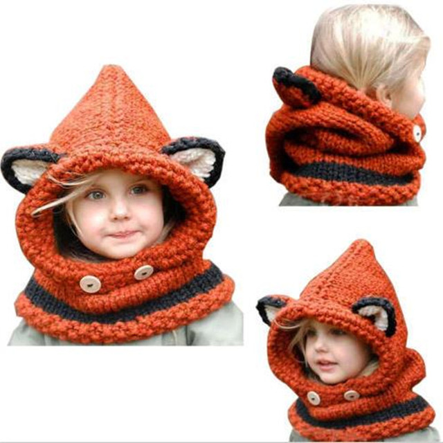 07fabd21d39 2016 New Style Winter Beanie Baby Child Animal Warm Fox Hat Hooded Scarf  Earflap Knit Caps Wool Baby Girl Boy Adjustable Hat