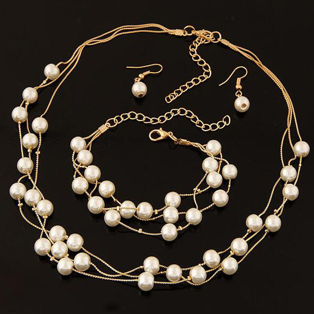 Imitation Pearl Jewelry Set Simulated Pearl Double Layer Women Earrings Necklace Bracelet Sets 1