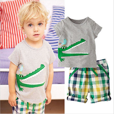 2016 Hot Cartoon Animal Toddler Baby Kids Boys Summer Clothes Tops T-shirt Pants Outfits Set Size 2T-7T newborn kids baby boy summer clothes set t shirt tops pants outfits boys sets 2pcs 0 3y camouflage