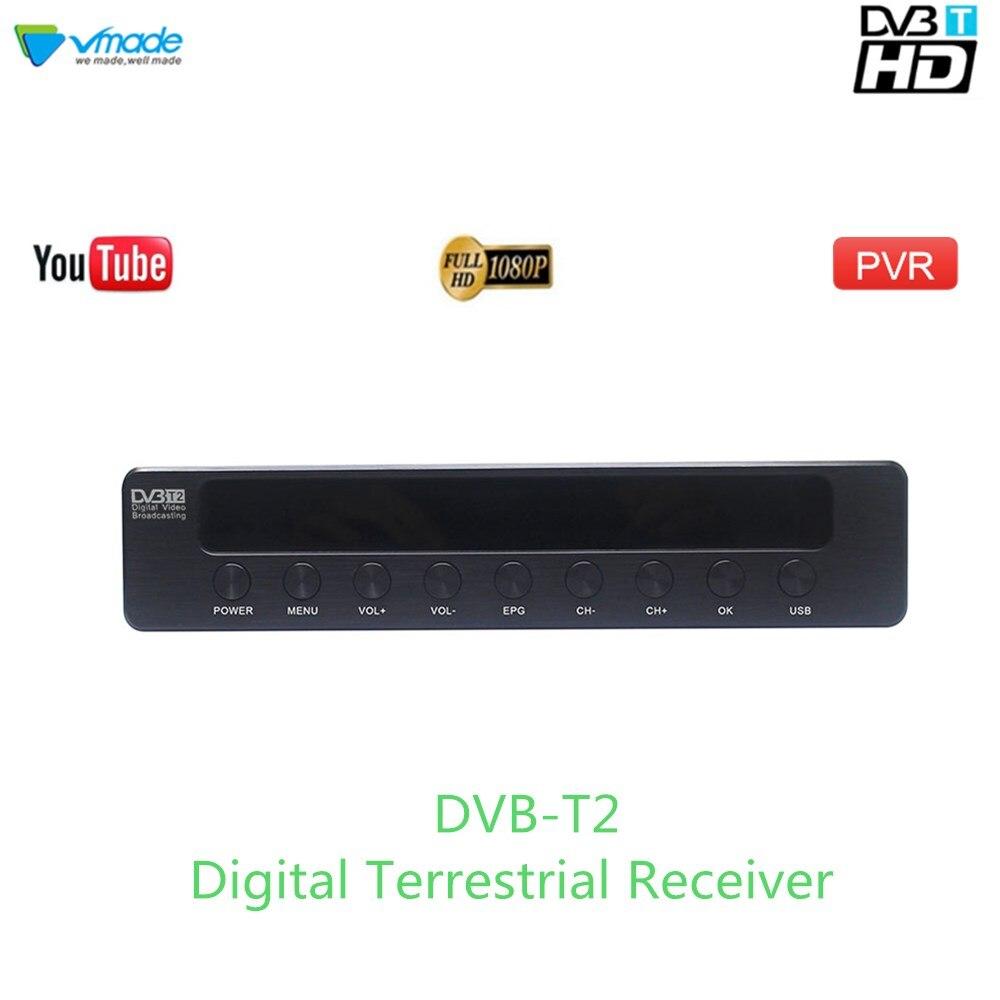 Vmade 2019 Heißer Verkauf HD 1080 P TV Tuner DVB-T2/T Digitalen Terrestrischen Receiver Set-Top Box Unterstützung h.264 MPEG-2/4 Youtube PVR