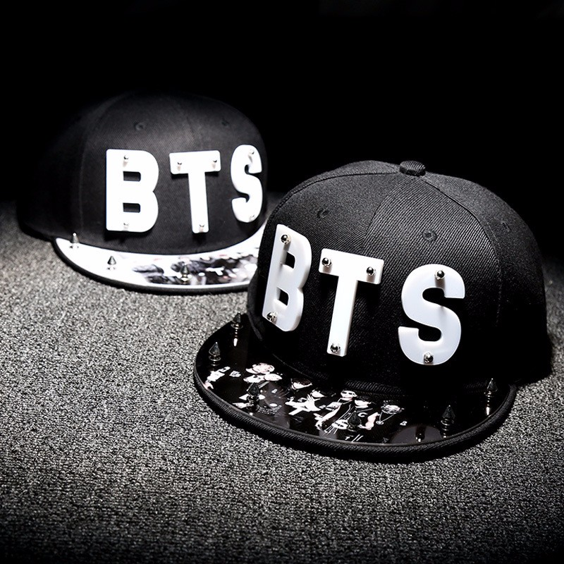 все цены на new Letter BTS Star Hat Cap hot sale rivet cap baseball hats fitted hat Casual cap panel hip hop hat cap student