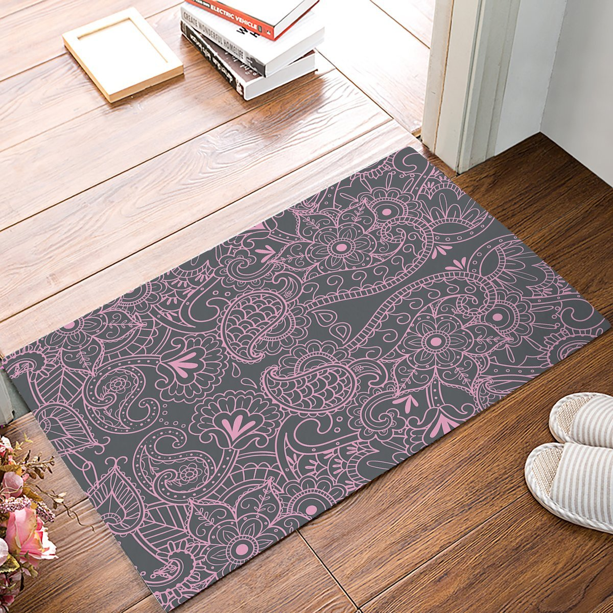 Vintage Mandala Floral Grey And Pink Decortaive Door Mats Kitchen Floor Bath Entrance Rug Mat Absorbent Indoor Bathroom